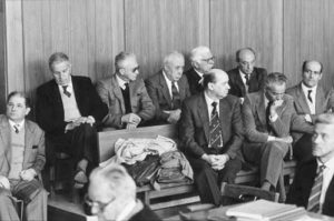 The Defendant's bench during the first degree case.The trial ended with 10 people convicted of multiple manslaughter and culpable catastrophe.