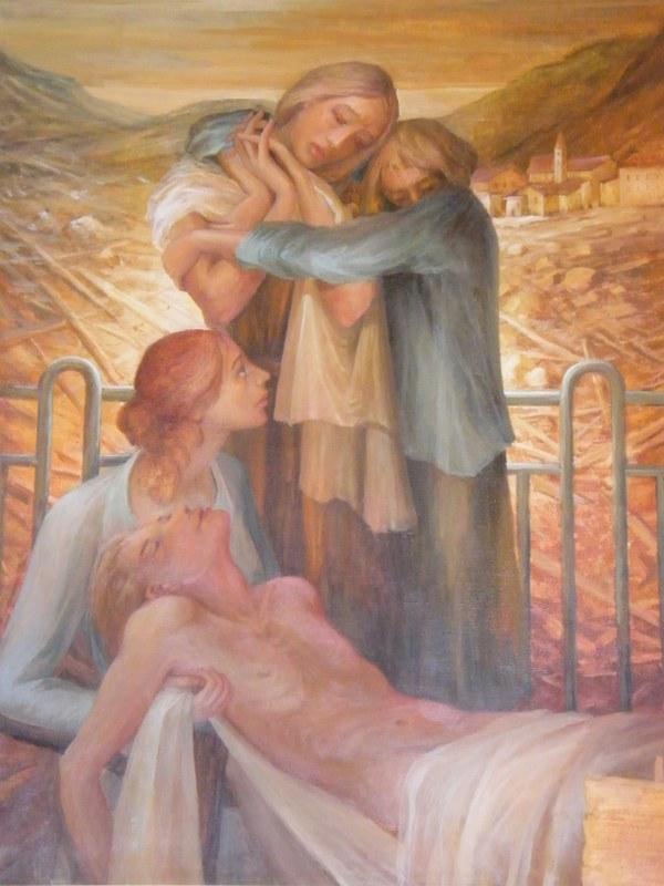 Il quadro di Renato Decristina nella chiesa di S.Leonardo a Tesero