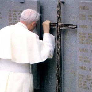 Many minutes spent gripping the Cross, symbolizing mankind crushed by unbearable pain, shared deep down inside.On 17th July 1988 His Holiness Pope John Paul II visited the scene of the disaster and stopped to pray at the cemetery of San Leonardo in Tesero.